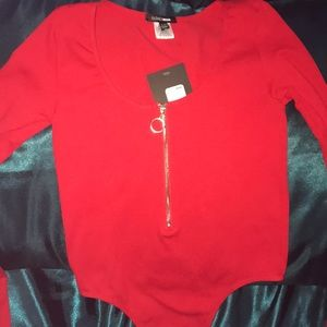 Super cute red long sleeve body suit with zipper!